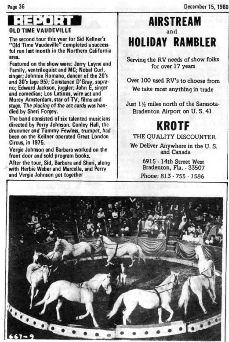 "Page 36 December 15,1980 OLD TIME VAUDEVILLE The second tour this year for Sid Kellner's ""Old Time Vaudeville"" completed a successful run last month in the Northern California area."