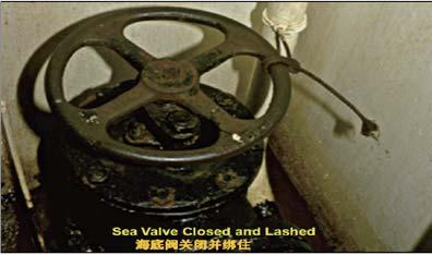 Figure 5.5.6 Sea valve closed and lashed 5.5.7 Procedures are to be provided for the operation of pump room sea valves to prevent pollution from leakage of cargo pump room sea valves.