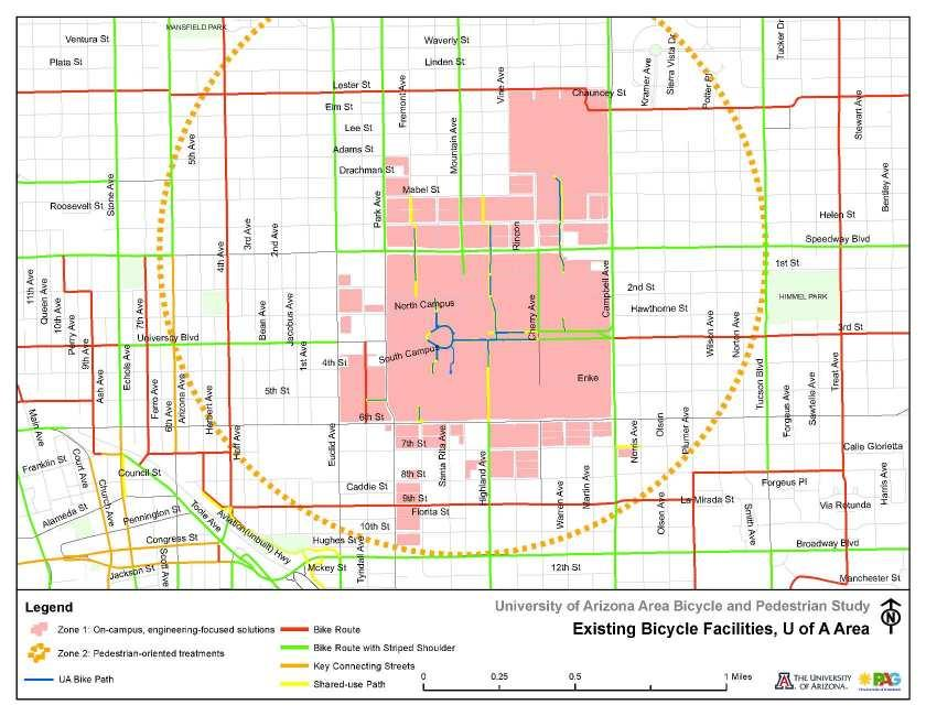 Figure 4-2: Existing Bicycle Facilities at the University of Arizona Pima Association of Governments