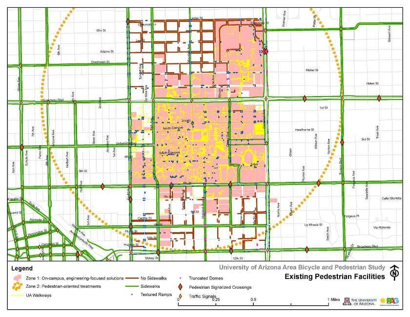 Figure 4-5: Existing Pedestrian Facilities at the University of Arizona Pima Association of Governments