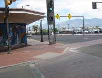 At some marked crosswalks, there are additional treatments, such as decorative paving materials and raised crosswalks.