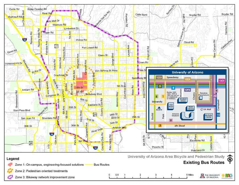 Figure 4-10: Existing Sun Tran Bus Routes Pima Association of Governments and University