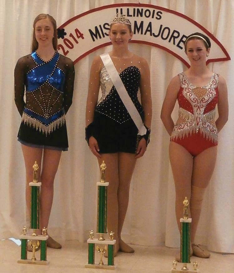 KSS student earns national recognition for baton twirling Nicola Colucy, a sophomore sports management major at Eastern Illinois University, is pictured on the middle left at the Intermediate Miss