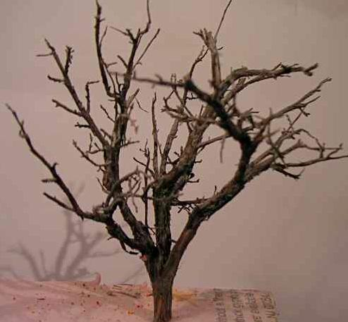 These trees start as sage brush branch armatures with SuperTrees (from Scenic Express). You can purchase the sage armatures from several sources now, Scenic Express and Timberline Scenery among them.