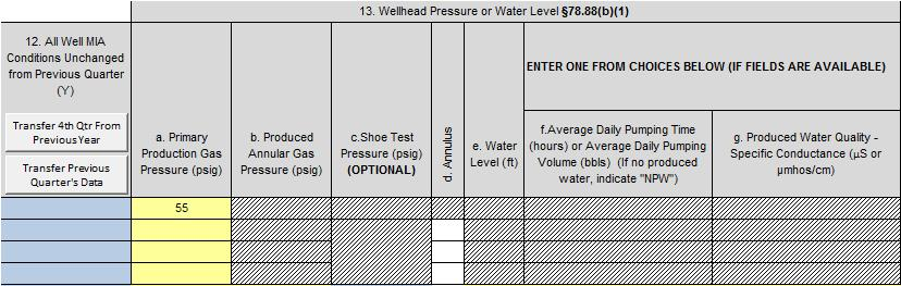Step 5: Fill out Section 13 Wellhead Pressure or Water Level for Q1.