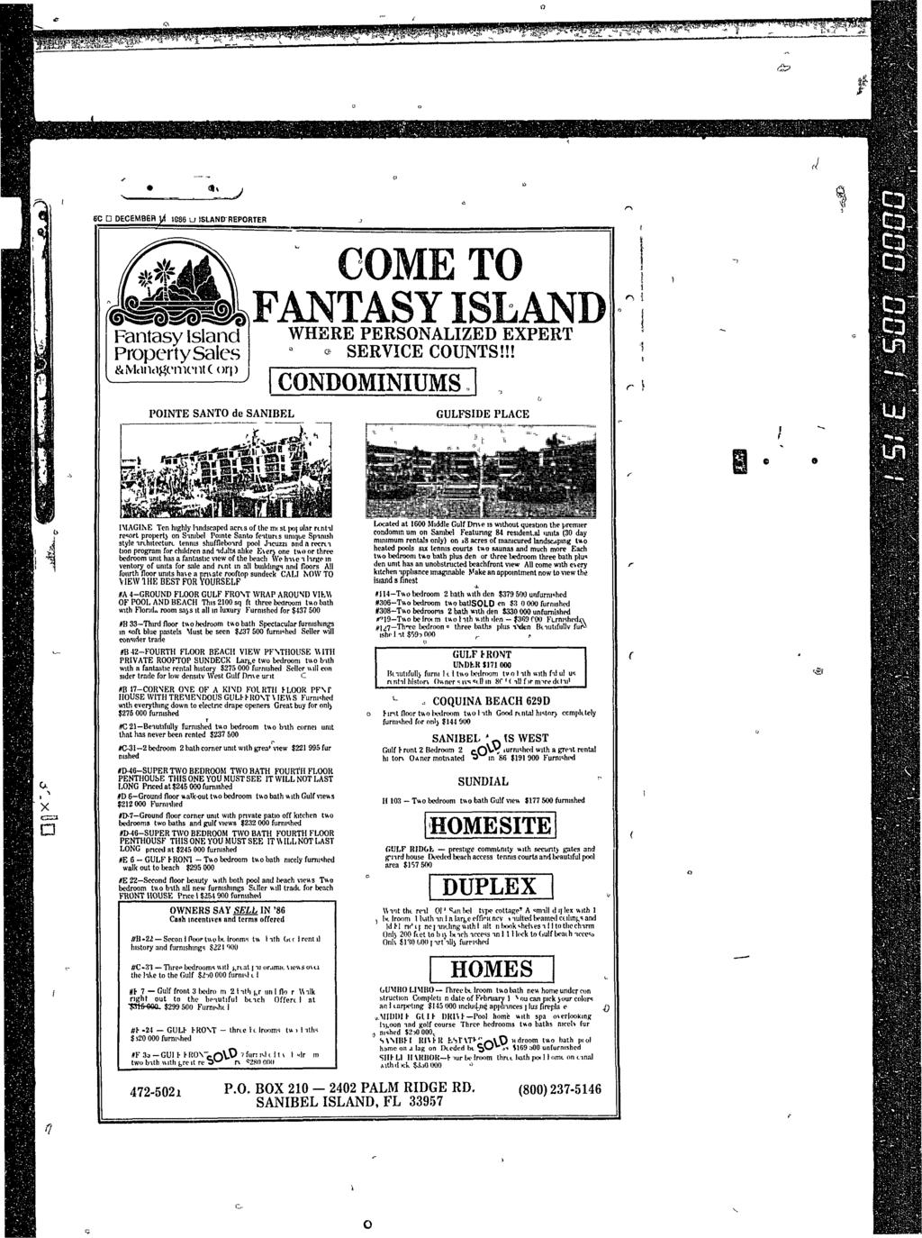 Ott J EC D DECEMBER ]^ 1886 u ISLAND-REPORTER #t COME TO vojwlfantasy ISLAND Fantasy Island WHERE PERSONALIZED EXPERT PropertySales * SERVICE COUNTS!