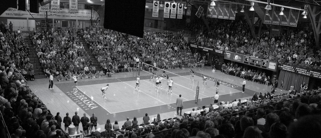 2009 INTRODUCTION NEBRASKA coliseum The Nebraska Coliseum has been sold out for the last 120 matches dating back to the 2001 season. It is the longest sellout streak in NCAA women s athletics.