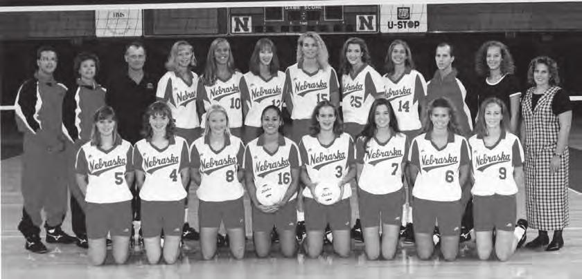 1995 NATIONAL CHAMPIONS 1995 National Champion Huskers - (Back row from left): Volunteer Assistant Coach Doug West, Assistant Coach Cathy Noth, Head Coach Terry Pettit, Allison Weston, Stacie Maser,