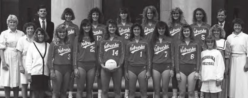 Janet Kruse, second team Eileen Shannon, second team All-Big Eight Janet Kruse, Val Novak, Eileen Shannon, Virginia Stahr, 1989 Big Eight Champion Huskers - (Back row from left): Assistant Coach