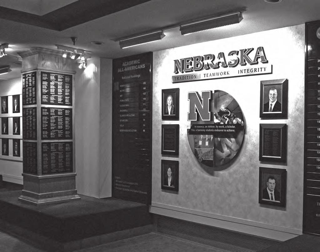 THIS IS NEBRASKA VOLLEYBALL Columns in the Hewit and Boekel Academic Center display the names of every Husker student-athlete who has lettered in a varsity sport and graduated from the University of