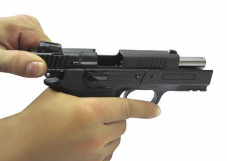 See Fig 13 TO LOAD THE CHAMBER: MAKE SURE YOUR FINGERS ARE OFF THE TRIGGER AND AWAY FROM THE TRIGGER GUARD 1) With the gun pointed in a safe direction.