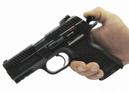 6) The pistol will fire one shot with every squeeze of the trigger, until the magazine is empty.