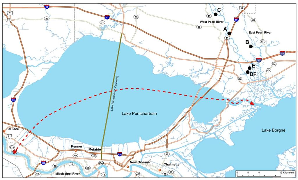 Bigheaded carp occurrence in Pearl River, LA-MS Figure 2. Location of bigheaded carp sampling stations (A F) in the lower Pearl River drainage.