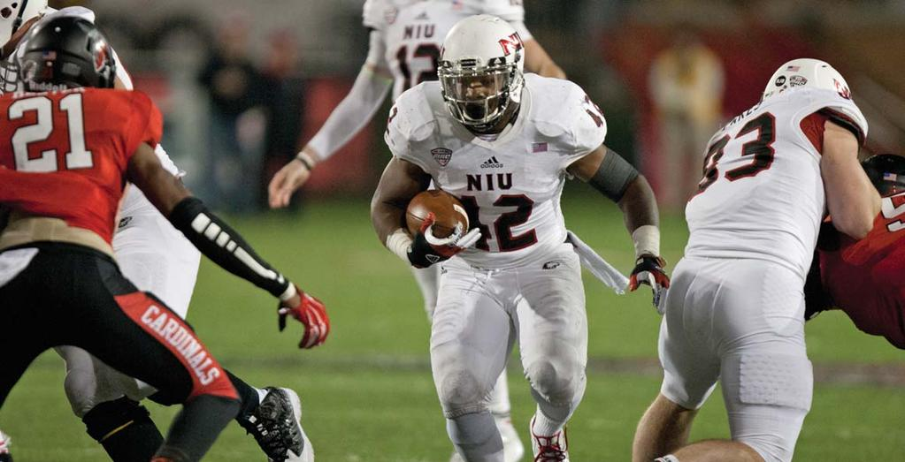 NIU HUSKIES FOOTBALL RECORDS RUSHING In 2014, Cameron Stingily became the irst running back to lead the Huskies in rushing since 2010; he gained 971 yards with 14 rushing scores.