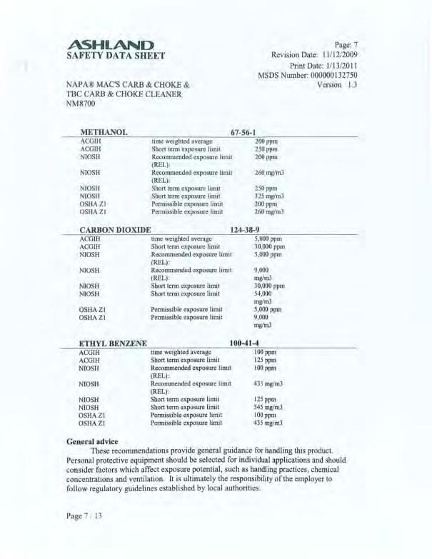 ASHLAND SAFETY DATA SHEET NAPA MAC'S CARB & CHOKE & TBC CARB & CHOKE CLEANER NM8700 Page: 7 Revision Date: 11 / 1212009 Print Date: 11131201 1 MSDS Number: 000000132750 Version 1.