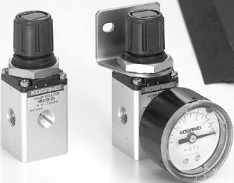 SMALL VACUUM REGULATORS VR100 Offer any vacuum pressure setting when mounted on vacuum lines. Push lock type regulator knob for light, smooth pressure regulation.