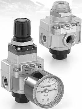 PILOT TYPE VACUUM REGULATORS, NVRA200 Uses the vacuum pilot method (diaphragm indirect operation type). Achieves superior pressure stability in the face of fluctuating flow rates.