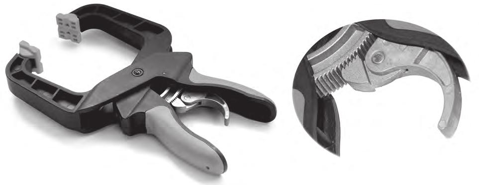 13 (d) Fig. 16 shows two views of a clamping device that uses a ratchet and pawl to hold the jaws closed.
