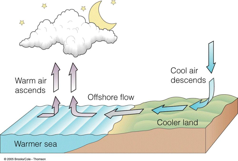 cool sea air onshore wind Night: Land cools (faster than