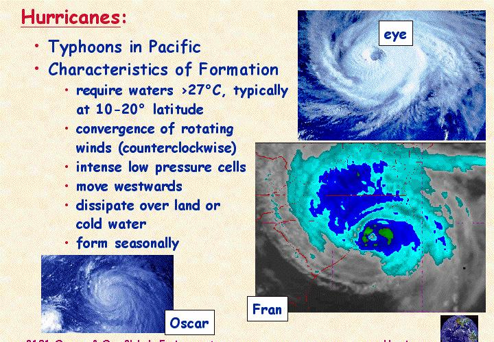 Hurricanes (Typhoons) Form from equatorial trade winds (blow E to W) Begin in warm water: >26 C (79 F) Moist, low