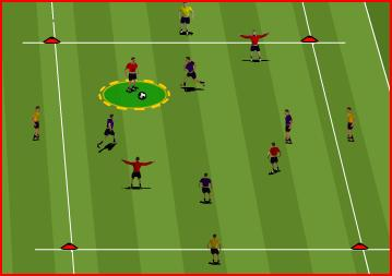 The layoff should be in the direction of the vacant cone to encourage the corner player to go in that direction. Control the ball on the back foot and out of the feet.