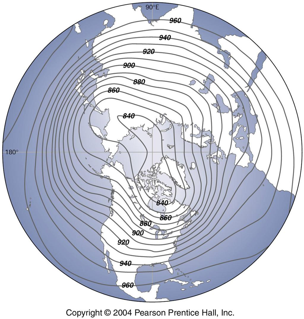 Isobars- lines connecting places of equal pressure on a map.