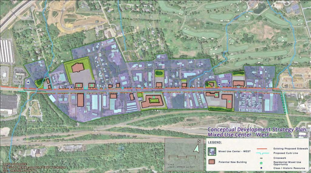 Land Use Plan To implement the vision set forth in East Whiteland Township s Comprehensive Plan, a two-pronged approach which enables the development of Mixed Use Centers and enhances the remaining