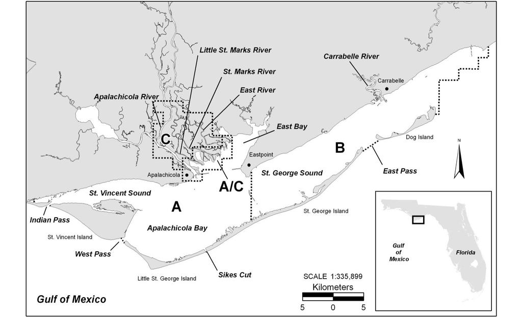 Figure AP12-01. Map of Apalachicola Bay sampling area.