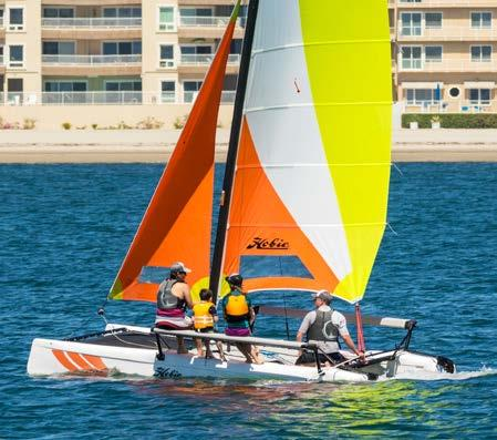 62 m Total Sail Area: 180 ft² / 17 m² Hull Construction: Rotomolded Polyethylene MARTINIQUE Hobie 16 This catamaran s lightweight, asymmetrical fiberglass hulls provide lift and