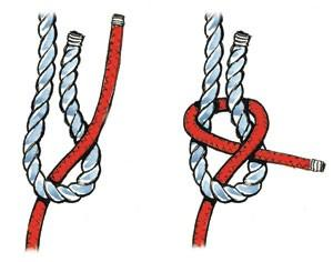 The sheet bend is more secure, is easy to untie and works much better when two lines of unequal diameter need to be tied together.