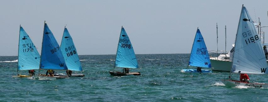 The Minnow fleet race across the start line at Sail Freo (L-R) Matthew, Jack.