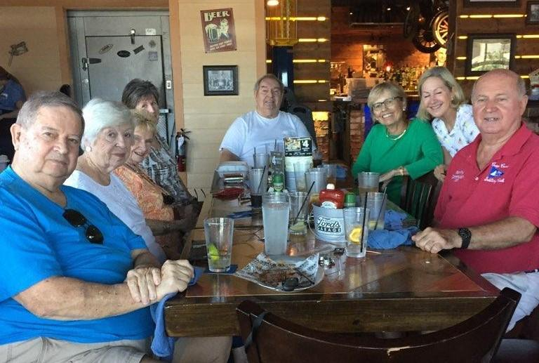 The August lunch at Fords Garage was a new eatery for several members.