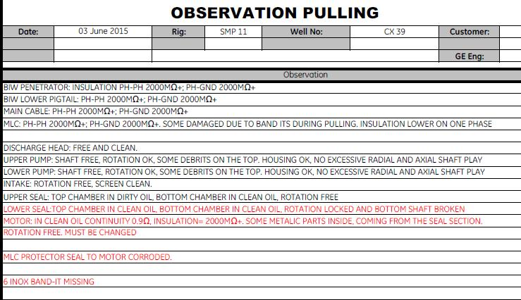 6. Pull Report Notes (Some Best Practice examples are included below) Observations while pulling provide a critical point during which pertinent data relative to the pulled equipment can be gathered.