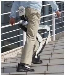 The new walking assist device with the body weight suport system reduces the load on leg muscles and joints (in the hip, knees, and ankles) by supporting a portion of the person's bodyweight.
