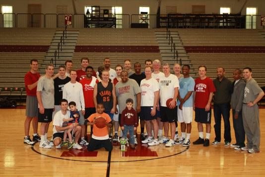 (Left) Women s basketball alumnae participate in the annual alumnae basketball game.