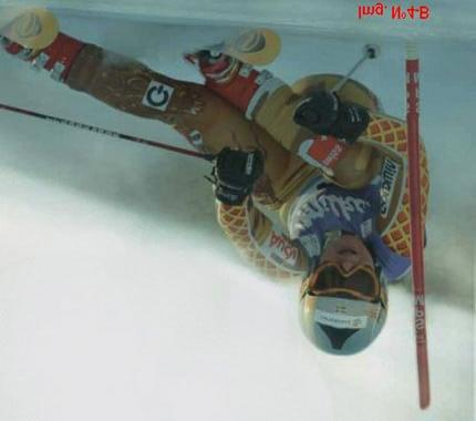 Image 4-B; photo of Swedish racer Anja Paerson from publicity add for the Salomon brand published on the Fall 2004 Canadian issue of Ski