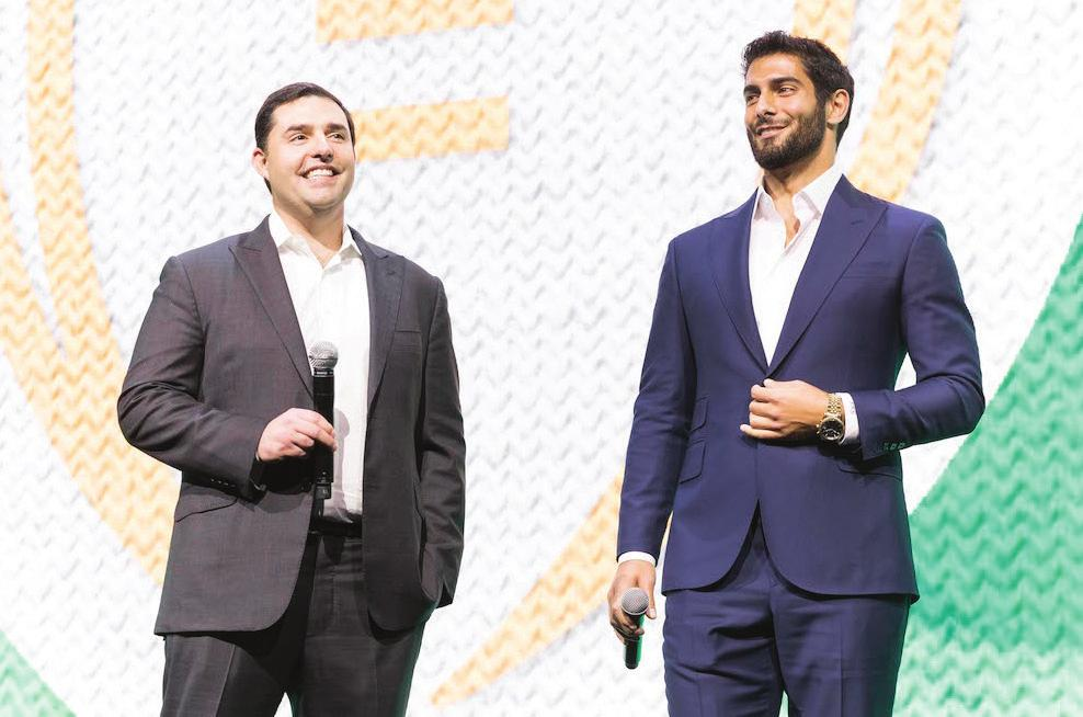 GOLDMINE Garoppolo attended the 12th Annual Tipping Point Community benefit in San Francisco with 49ers CEO Jed York and general manager John Lynch.