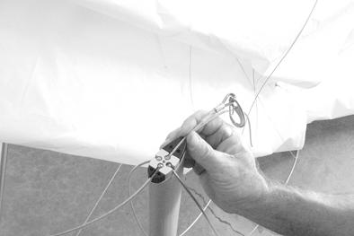 Correctly position the left and right sweep wires on the proper sides of the top centerline of the keel.