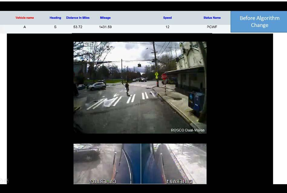 The second set of screen shots show the algorithm improvements as they were applied to cross walk approaches.
