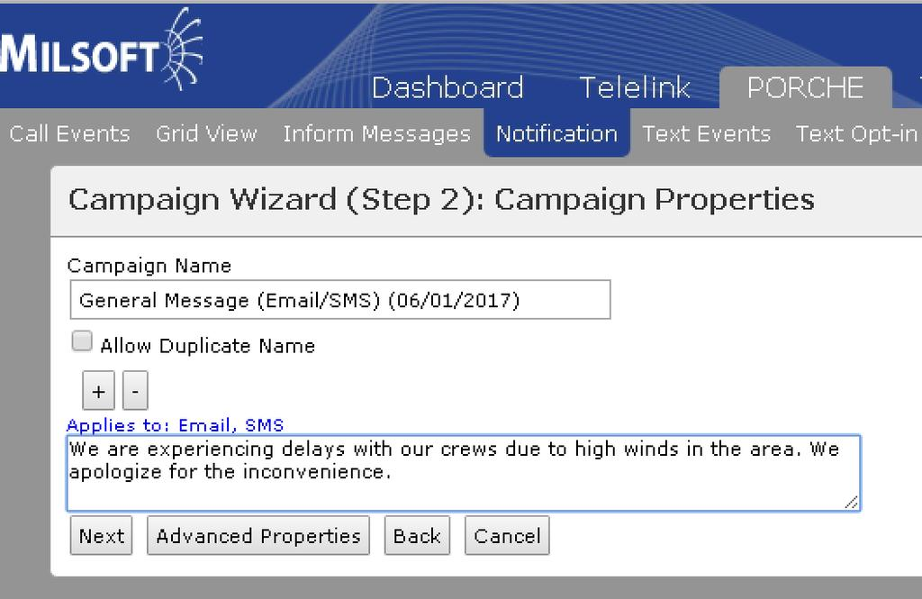 OMS Manual Alerts: How-To The wizard will prompt you to fill in any blanks