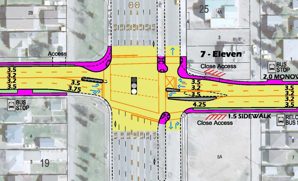 97 Street Intersection Improvements Curb extension to force westbound vehicles into inside receiving lane Service road operation changes to Right-In only Closure of 7-11 access to 122 Avenue New