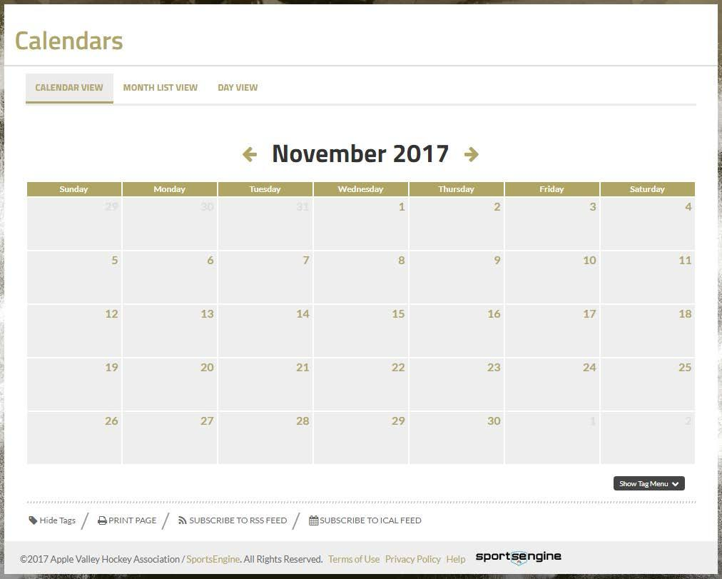 AVHA Website Calendar Published by mid-october-ish The