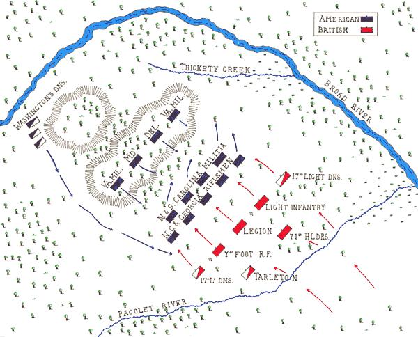 Battle of Cowpens Morgan placed the Georgia and North Carolina militia in front of his line with a further screen of riflemen to their front.