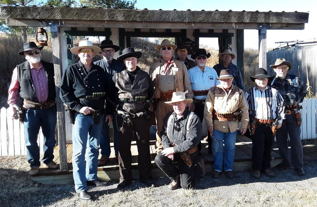 Sunday Posse (L-R) Del Monte, Hard Headed Mike, Bootless Bob(back), Copenhagen Kid, Ranger Six(front), Marshal D.J., Trouble (way back), Granny Gunsmoke, William Bowie.