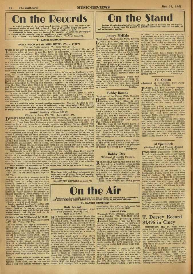 12 Tbn Billboard MUSIC -REVIEWS 'slay 24. 1941 On the Records A.(bled analysis of the later/ ward releases, cowing both tae ntonsal and comeneretst anal. of exh disk reyfe.ed. Review.