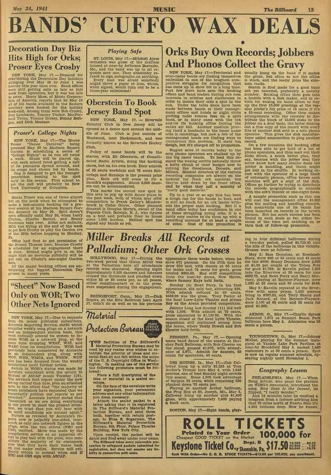 May 24, 1941 MUSIC Th4. Billboard 13 BANDS' CUFFO WAX DEALS Decoration Day Biz Hits High for Orks; Fraser Eyes Crosby NEVI YORK, May 17.