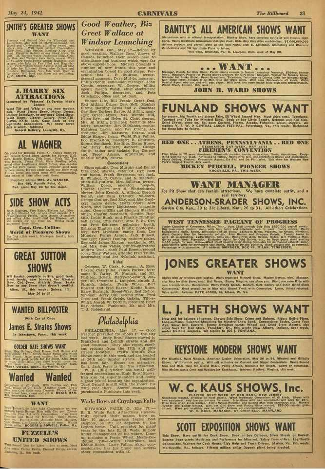 ',lay 21, 1941 CARNIVALS The Billborffd 31 SMITH'S GREATER SHOWS r./r/...:1 11.1 Neco...: NJ., tor al.! 41141grateUe:40...tPi 41,atajtu. ter, Me, Oeworol aneenfr:r pool, ntab Moen., 346.