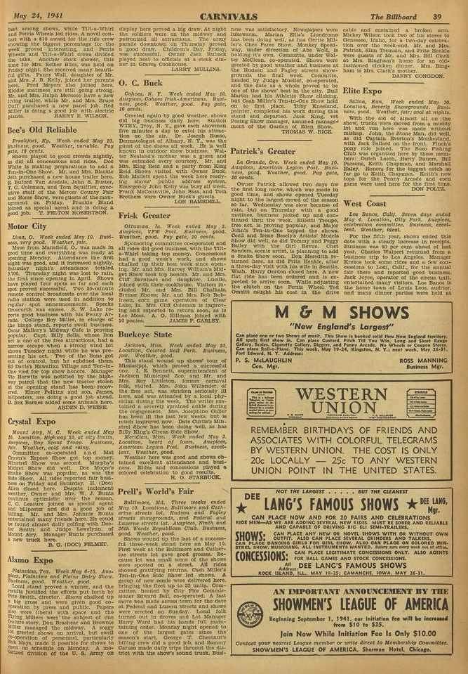 SNOWS; May 24, 1941 CARNIVALS The Billboard 39 best among abort., while Tilt -a -Whitt and Farris Whode led Odra. A novel coo.