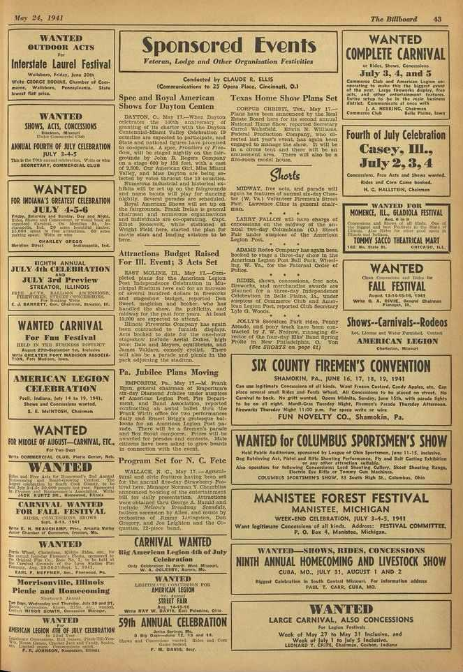 . 111ma Hay 24, 1941 The Billboard.1.3 WANTED OUTDOOR ACTS e. Interstate Laurel Festival Wellebero, Ir.day, lune 1PAA, Wr110 CIORCE 11003cit. Chamber of Cernameba, Weed:ere. PoemylranLo.