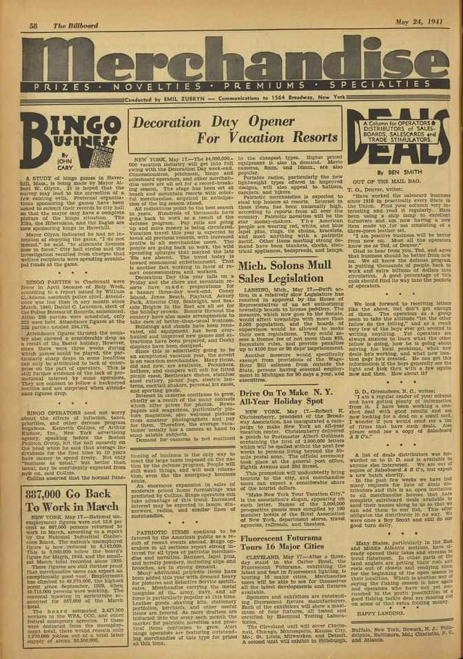 58 The Billboard e Play 24, 1931 e PRIZES NOVELTIES PREMIUMS SPECIALTIES Coedected by EMIL ZUBRYN - Communications to 1564 fireadway. New York BI NGO us JOHN CAAY A STUDY of bingo grunt. in Mew. WU.